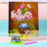 Алмазная мозаика по номерам Розы и Ваза 21*25 см оптом фото 01