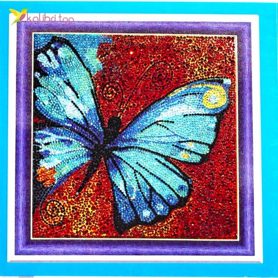 Алмазная мозаика по номерам Бабочка 30*30 см оптом фото 08