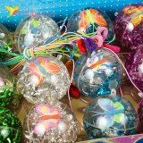 Мячики на резинке Бабочки с конфетти 6,5 см оптом фото 03