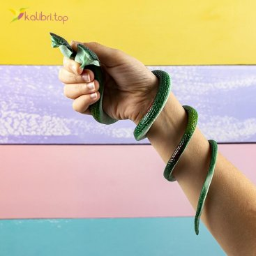 Силиконовые змеи кобры тёмно-зелёные оптом фото 01