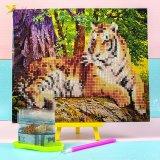 Алмазная мозаика по номерам Тигр в лесу 21*25 см оптом фото 01