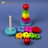 Развивающая деревянная игрушка Пирамидка оптом фото 01