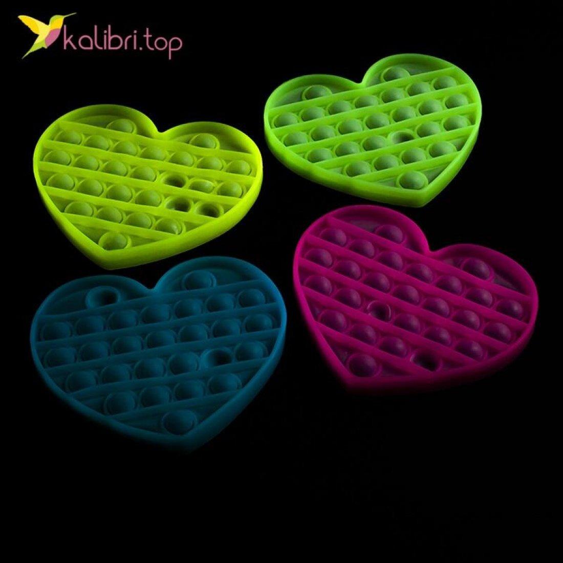 Попит (pop-it) флуоресцентный сердечко оптом фото 01