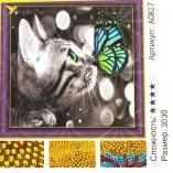 Алмазная мозаика по номерам Кот и Бабочка 30*30 см оптом фото 004