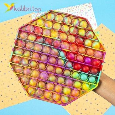 Поп ит (pop-it) Восьмиугольник радужный XL оптом фото 01