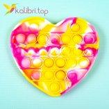 Пупырка Поп ит (pop-it) сердечко жёлтый оптом фото 01