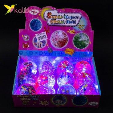 Мячики на резинке Бабочки с конфетти 6,5 см оптом фото 01