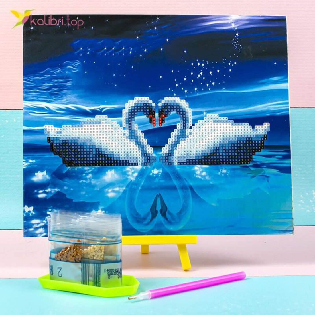 Алмазная мозаика по номерам Лебеди 21*25 см оптом фото 047