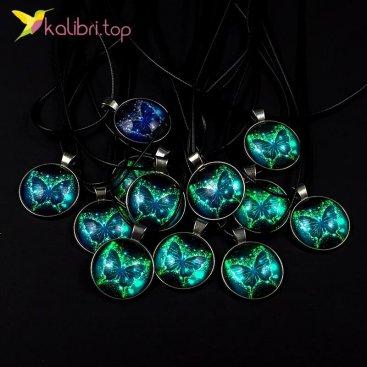 Светящиеся флуоресцентные кулоны Бабочки оптом фото 01