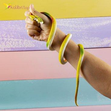 Силиконовые змеи кобры двухголовые жёлтые оптом фото 01