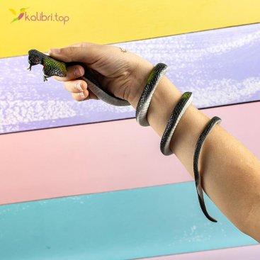 Силиконовые змеи кобры чёрно-зелёные оптом фото 01