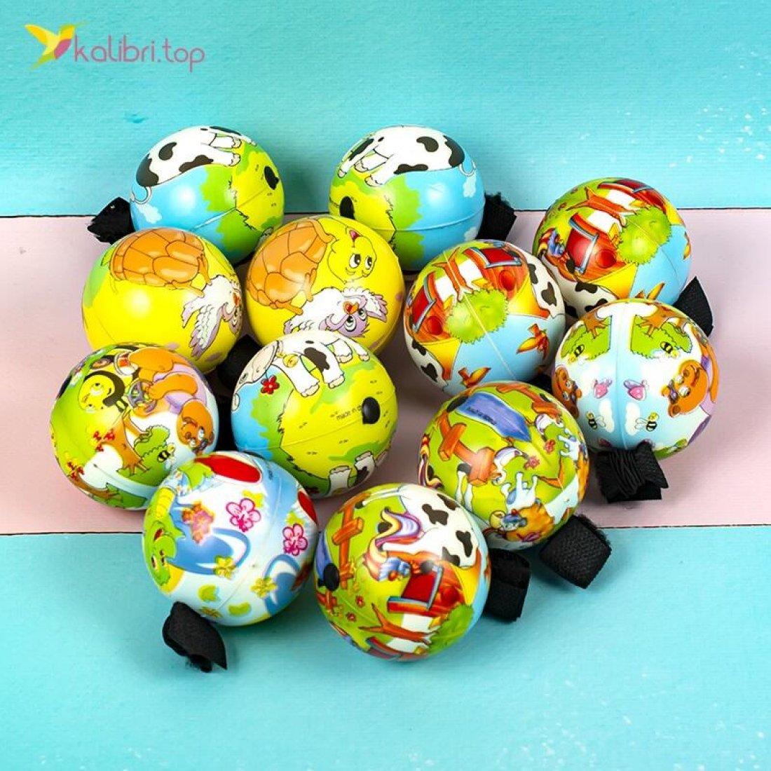 Поролоновые мячи Коровки на резинке 6,3 см оптом фото 01