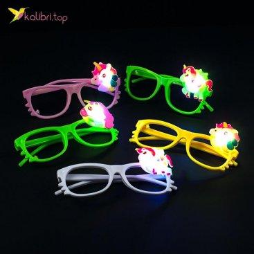 Детские светящиеся очки Единороги оптом фото 01