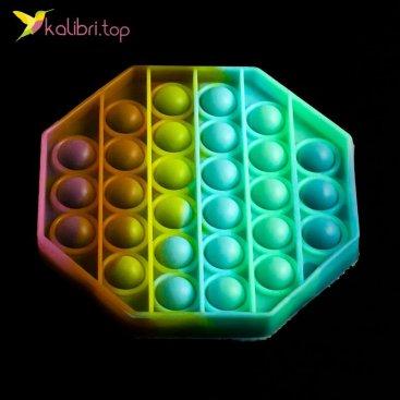 Попит (pop-it) флуоресцентный восьмиугольник радужный оптом фото 01