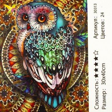 Рисования по номерам Совушка 30*40 см оптом фото 1