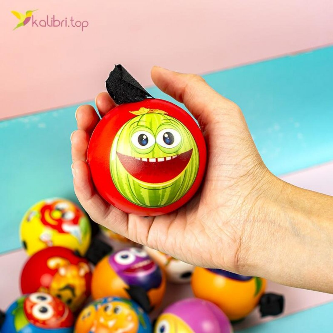Купить поролоновые мячи Фрукты на резинке 6,3 см оптом фото 02
