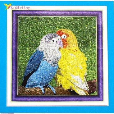 Алмазная мозаика по номерам Попугайчики 30*30 см оптом фото 01