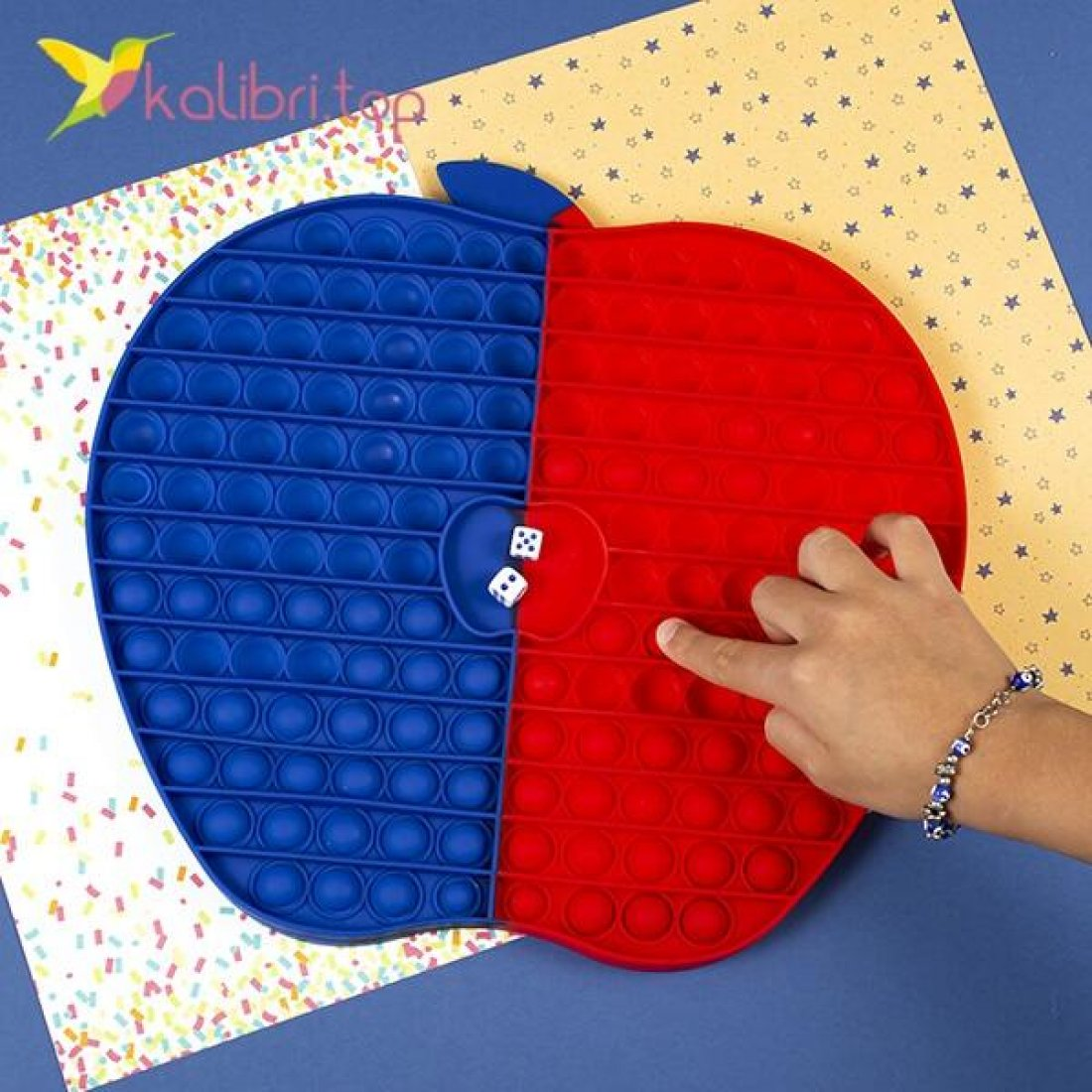 Игра поп-ит Яблоко сине-красное оптом фото 01