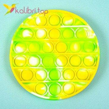 Антистресс Поп ит (pop-it) круг жёлто-зелёный оптом фото 01