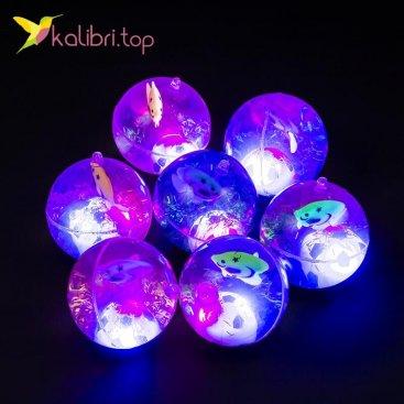 Детские светящиеся мячики на резинке Рыбки 6,5 см оптом фото 01