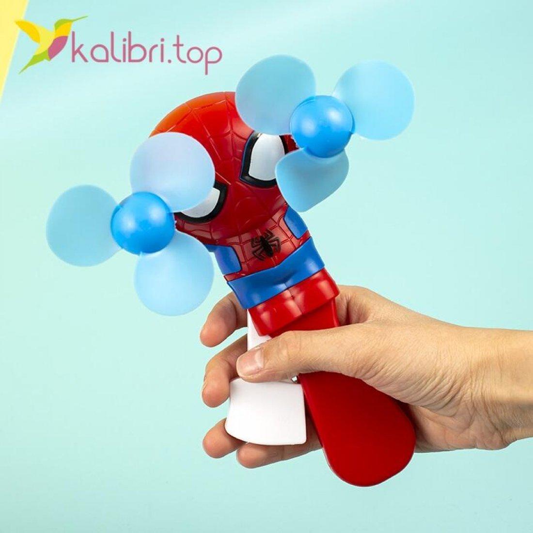 Ручной детский вентилятор Человек Паук оптом фото 03