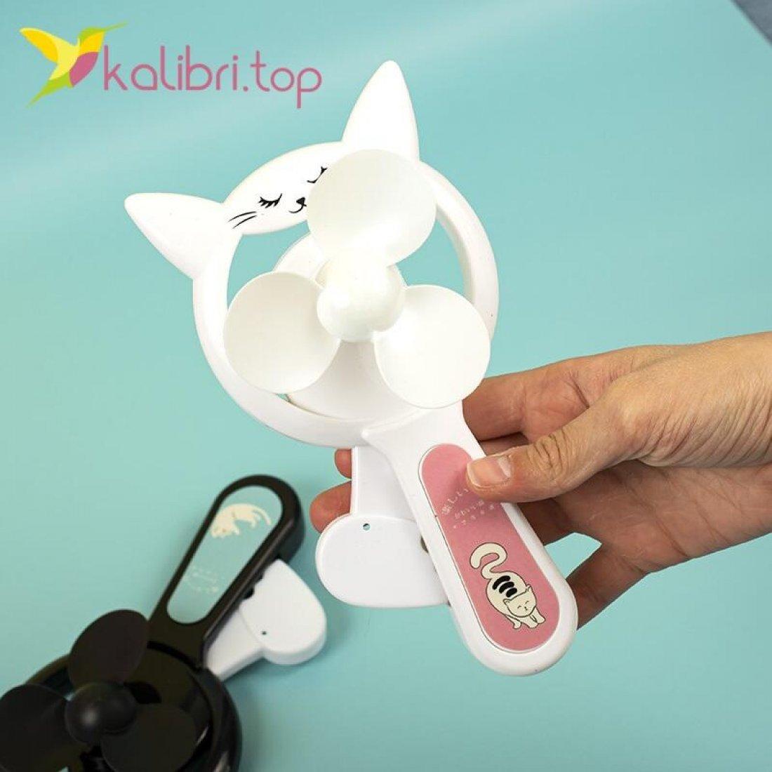 Ручной детский вентилятор Котик оптом фото 3