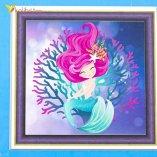Алмазная мозаика по номерам Русалка в Море 30*30 см оптом фото 01