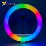 """Светодиодная кольцевая лампа для селфи RGB 12"""", 30 см оптом фото 05"""