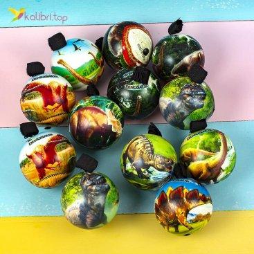 Поролоновые мячи Динозаврики на резинке 7,6 см оптом фото 01